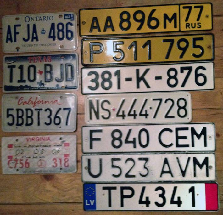 иностранные номерные знаки