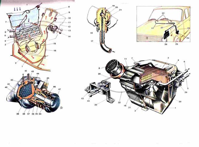 Схема отопителя, омывателя Ваз 2101/2102