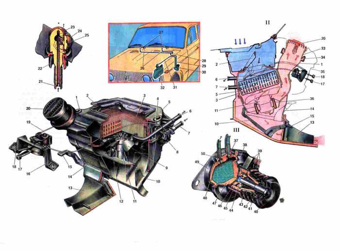 Схема отопителя и омывателя