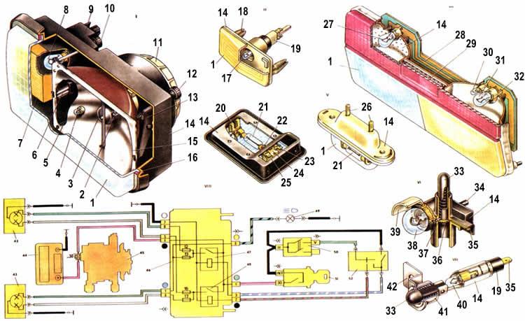 Схема фар и освещения Ваз