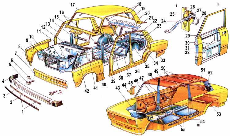 Схема кузова Ваз 2105