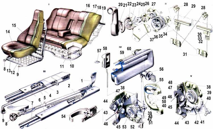 Схема сидений и замков Ваз 2107