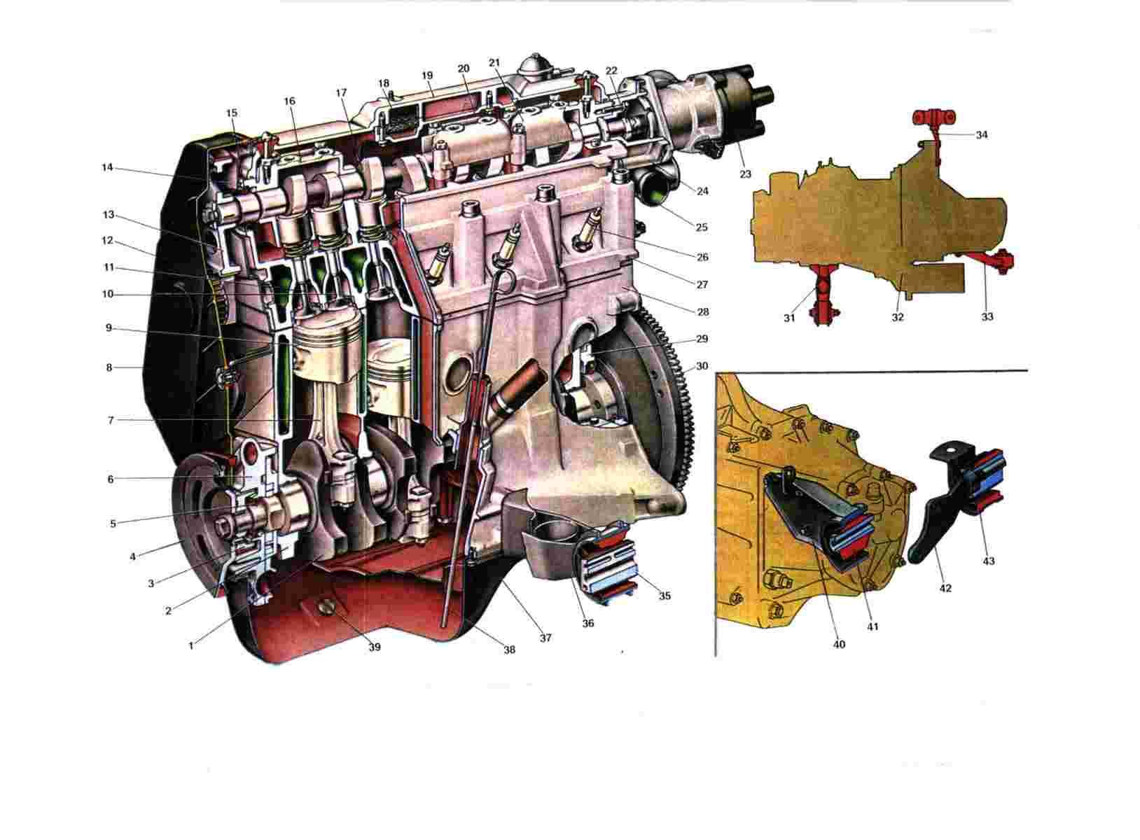 Схема двигателя Ваз 2108/2109/21099 вид сбоку