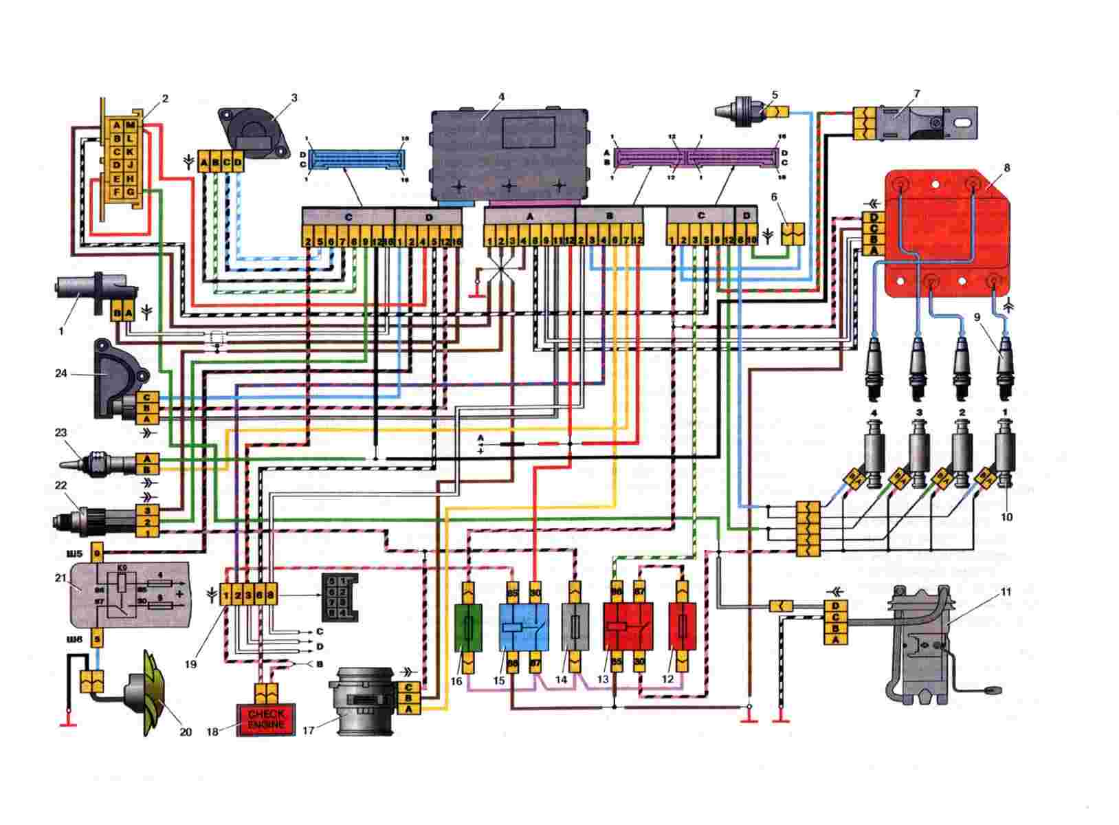 Схема электрическая Ваз 2108/2109/21099
