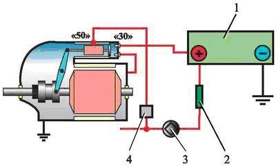 схема электрической цепи стартера