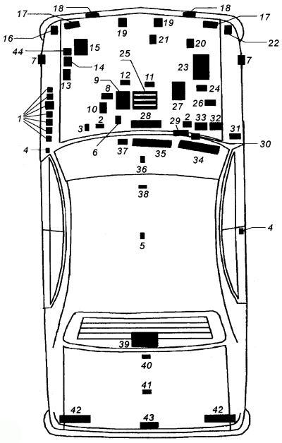 общий вид расположения электрооборудования на автомобиле