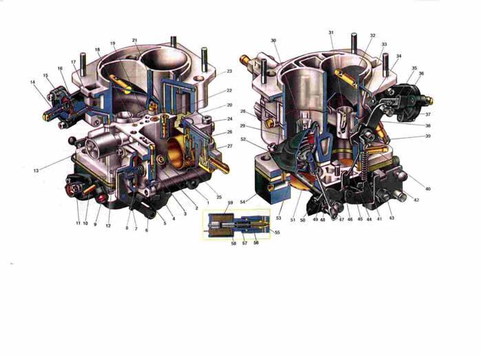 Схема карбюратора Ваз 2103
