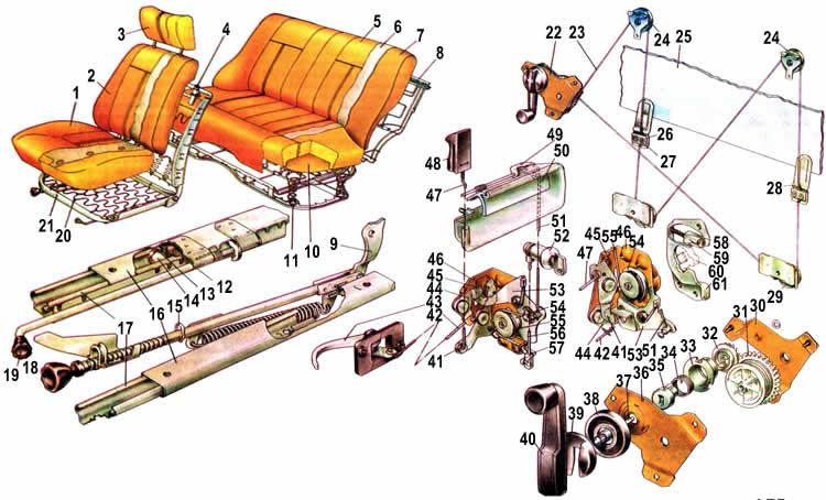 Схема сидений,замков и дверей Ваз 2104