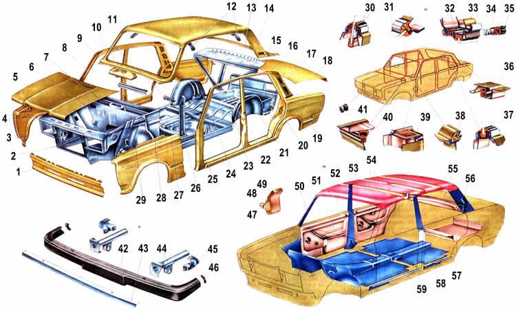 Схема кузова Ваз 2107
