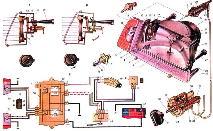 Схема фар Ваз 2108/2109/21099