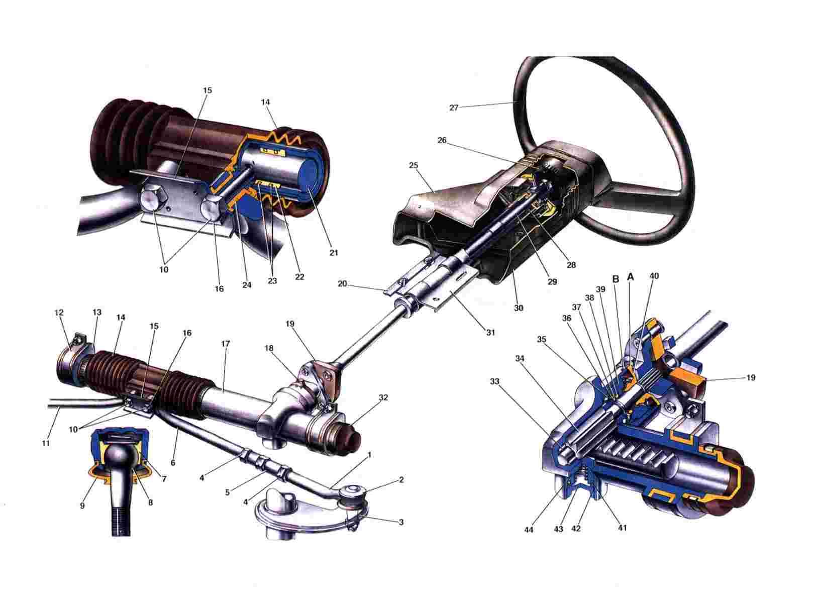 Схема рулевого механизма Ваз 2108/2109/21099