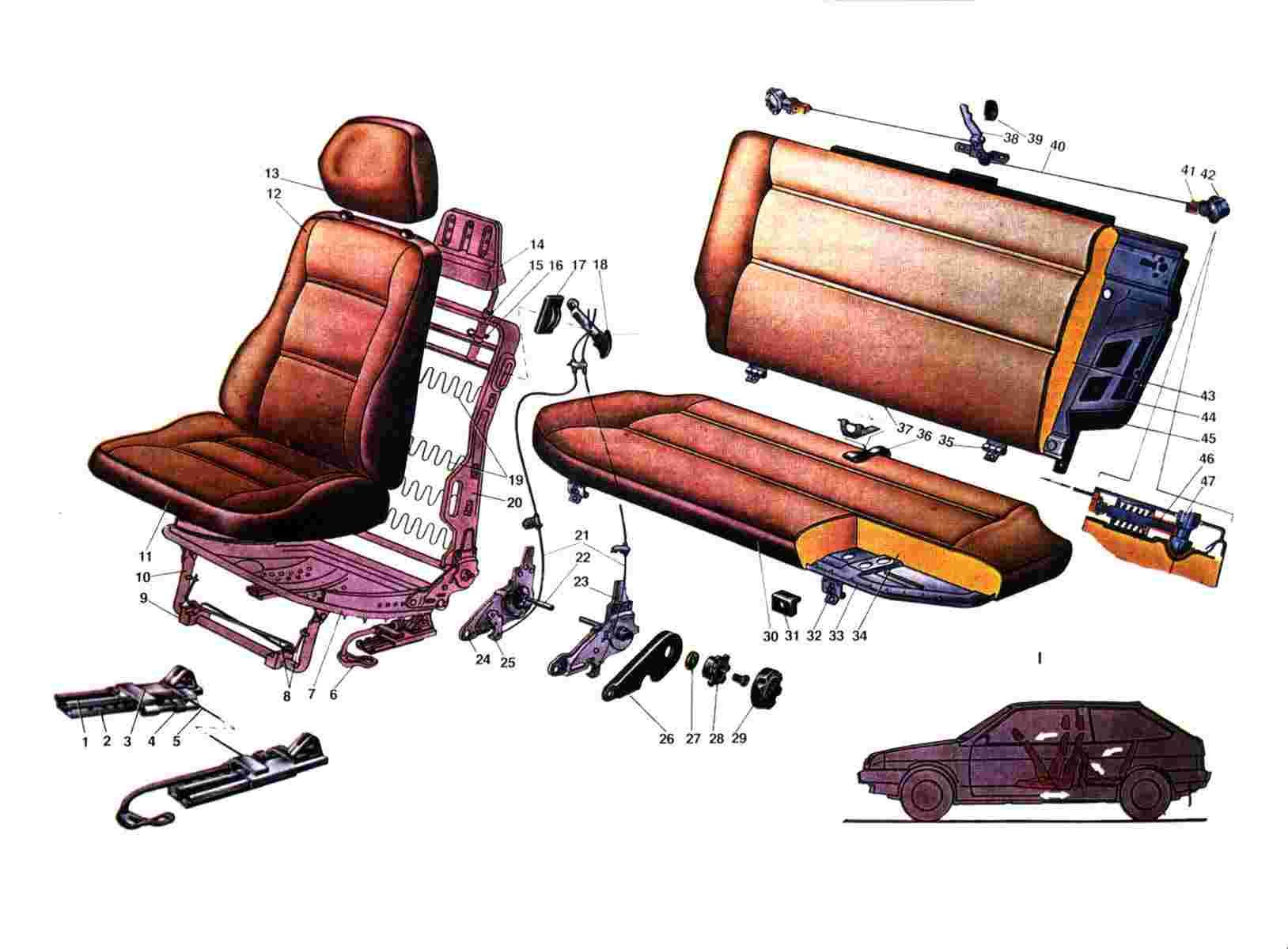 Схема сиденья Ваз 2108/2109/21099