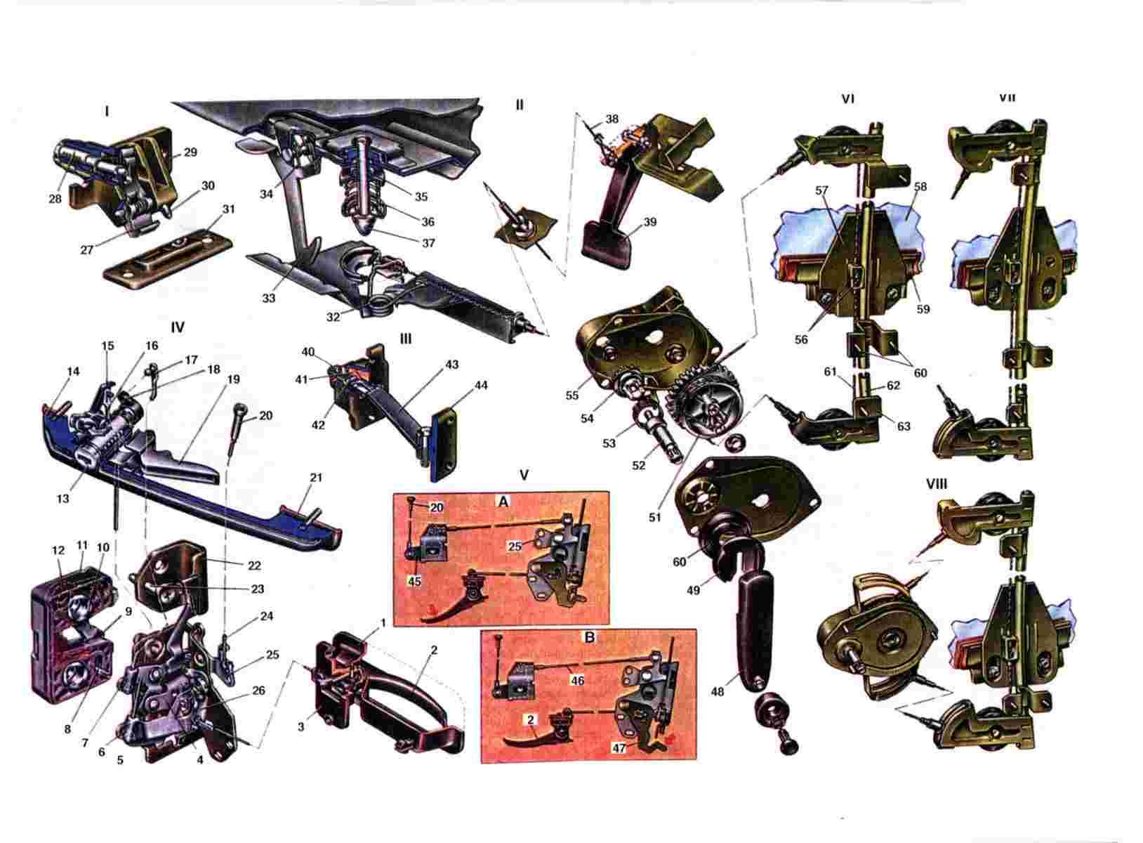 Схема стеклоподъемников и змков Ваз 2108/2109/21099
