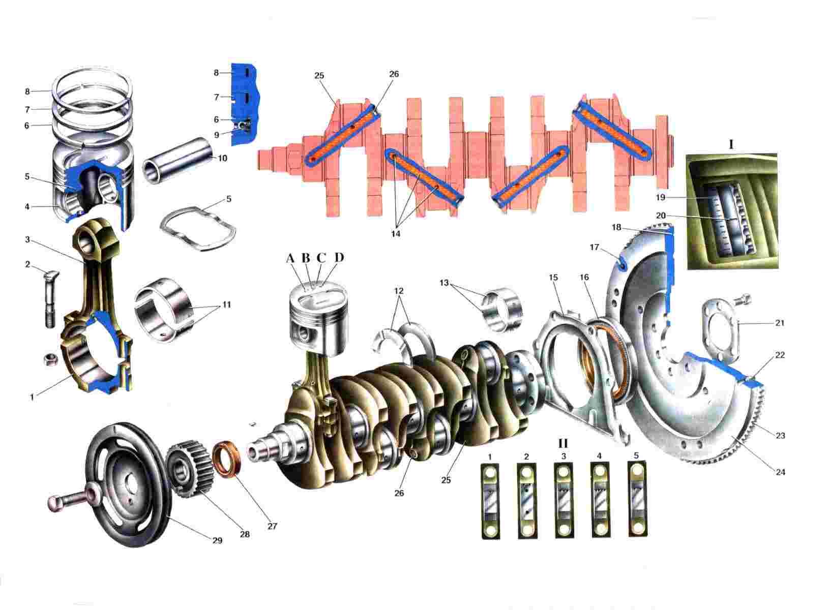Схема кривошипно-шатунного механизма Ваз 2108/2109/21099